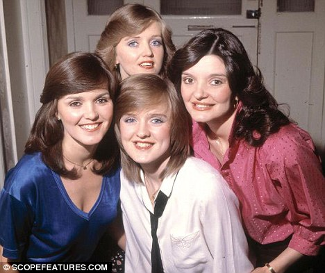 Maureen with her sisters Linda (top), Bernie (front) and Anne (right) in The Nolans