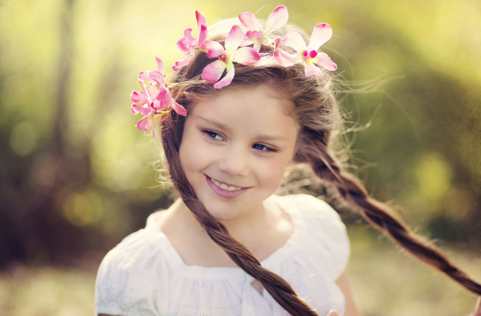 Glorious Cute Little Girl Long Hairstyles for School Braided-Flowers