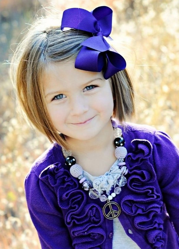 Refulgent Cute Little Girl Hairstyles with ribbon for School