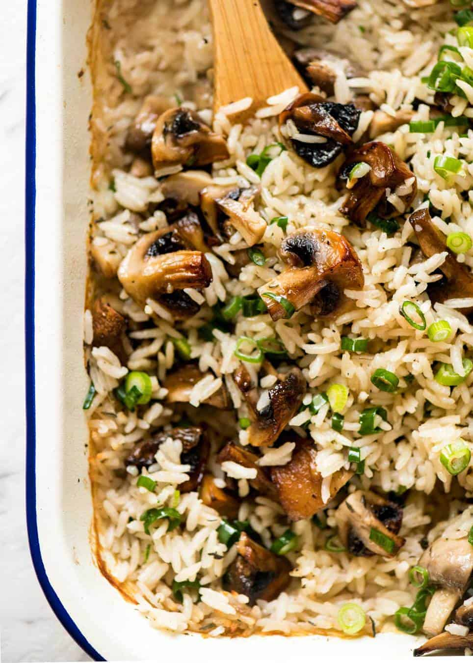 Baked Mushroom Rice - buttery, garlicky, golden brown juicy mushrooms and fluffy rice, all baked in one pan! recipetineats.com